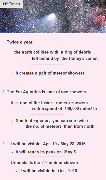 #Eta Aquarids is the fastest meteor shower with a spead of 148K mph #comet #meteorshower #vc http://arzillion.com/S/tvNuac