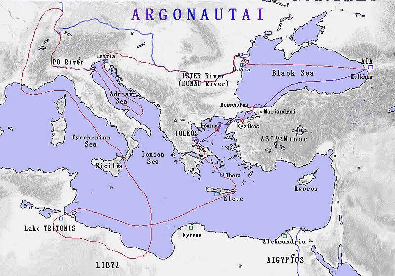 Mapa del recorrido de los Argonautas