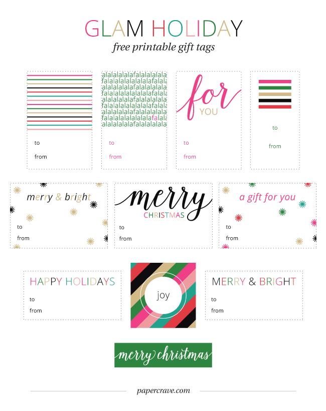Glam Holiday Free Printable Gift Tags | Free Printables | Pinterest