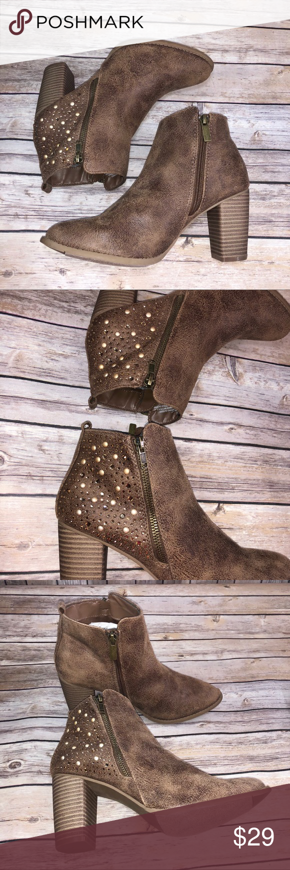 6fed28ce8e5c7 Maurices embellished heel zip up bootie Maurices brandy faux suede heeled  bootie•• -GUC -minimal wear signs -gently pre loved -gorgeous shimmering ...