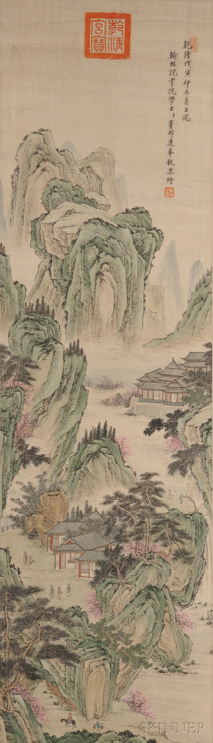 chinese painting 19th century copy of dong bangda ink and colors on silk hanging scroll format blue and gr chinese painting chinese landscape landscape art