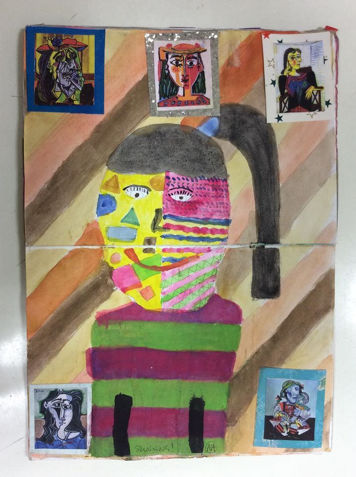 Yr7 self portrait homework - Yourself painted in the style of Picasso.