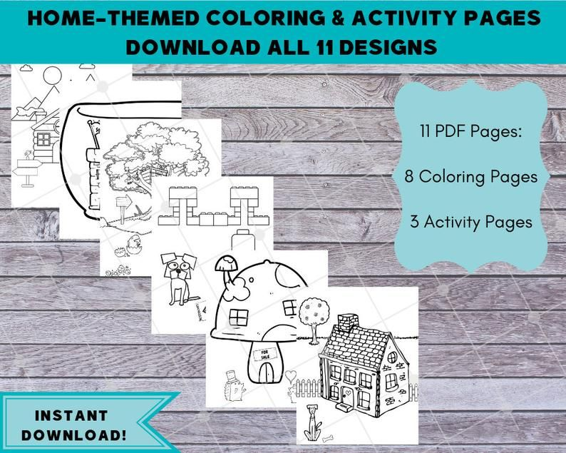Real Estate Coloring Pages Download 11 Designs Home Themed Etsy Coloring Pages Business For Kids Washable Markers