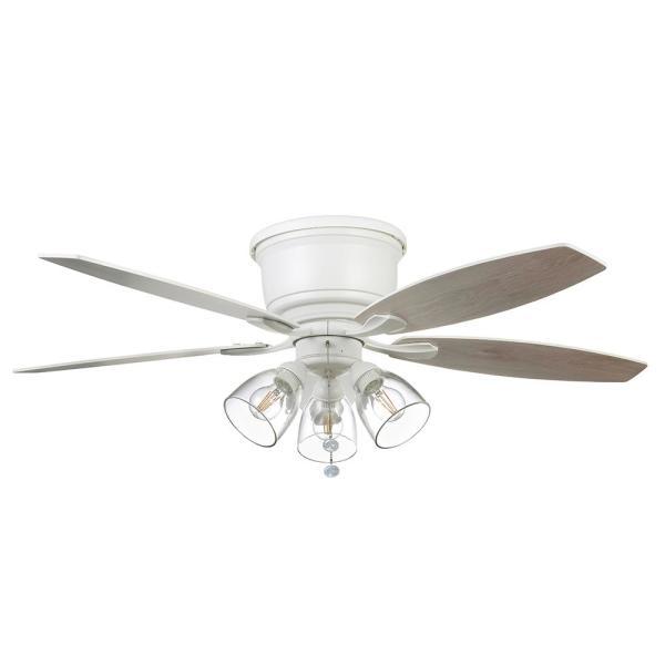 Hampton Bay Stoneridge 52 In Matte White Hugger Led Ceiling Fan With Light Kit 51823 The Home Depot In 2020 Ceiling Fan Light Fixtures Ceiling Fan With Light Hugger Ceiling Fan