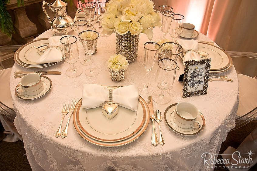 A royal table setting with round table....color white table linens & A royal table setting with round table....color: white table linens ...