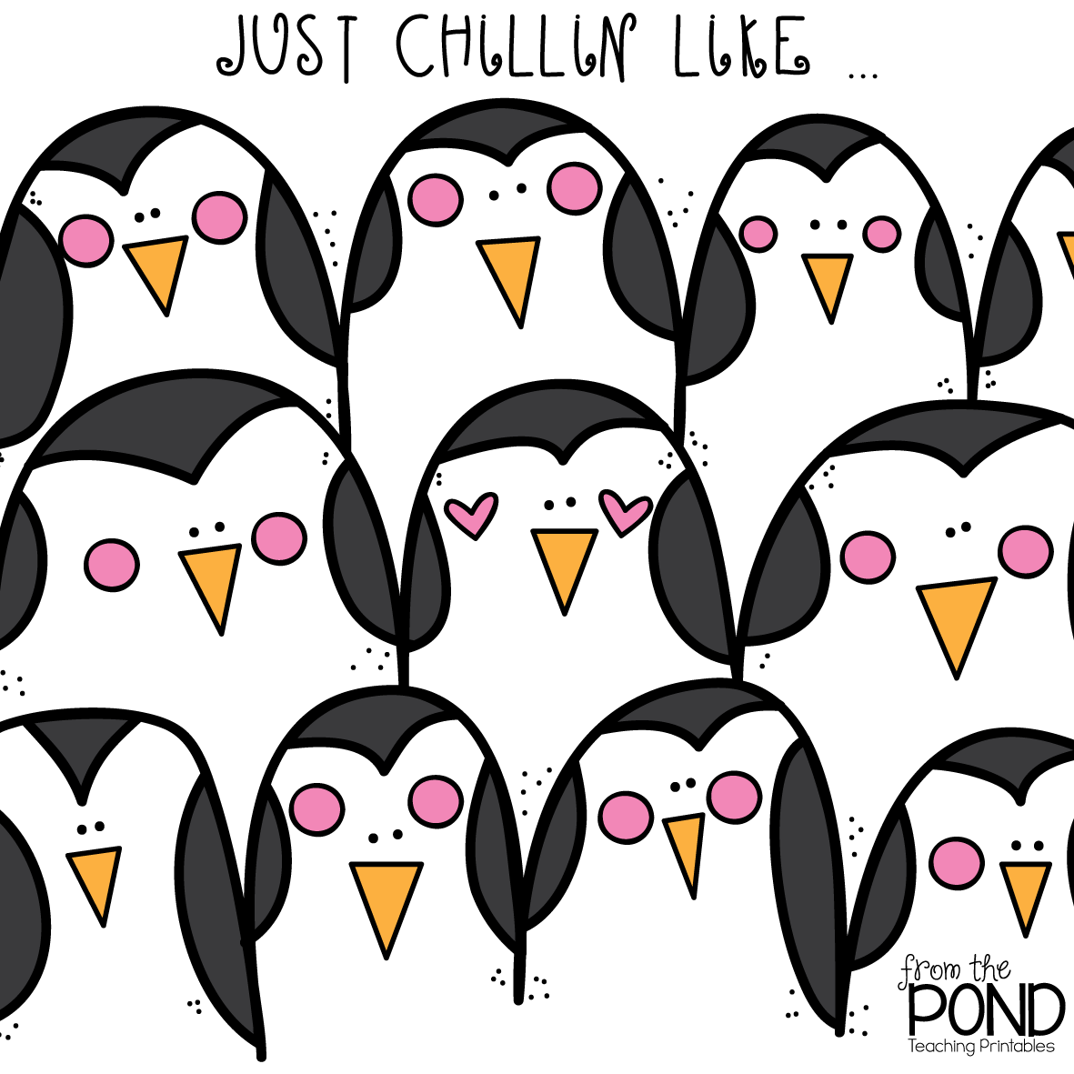 Penguin Poster Coloring Page Freebie