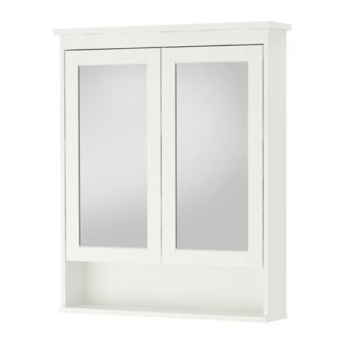 hemnes mirror cabinet with 2 doors white remodel. Black Bedroom Furniture Sets. Home Design Ideas