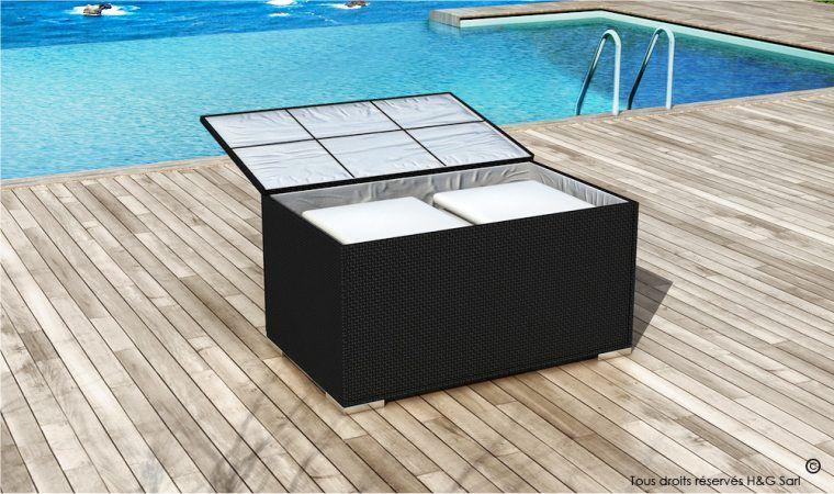 Coffre Box De Rangement Resine Noire