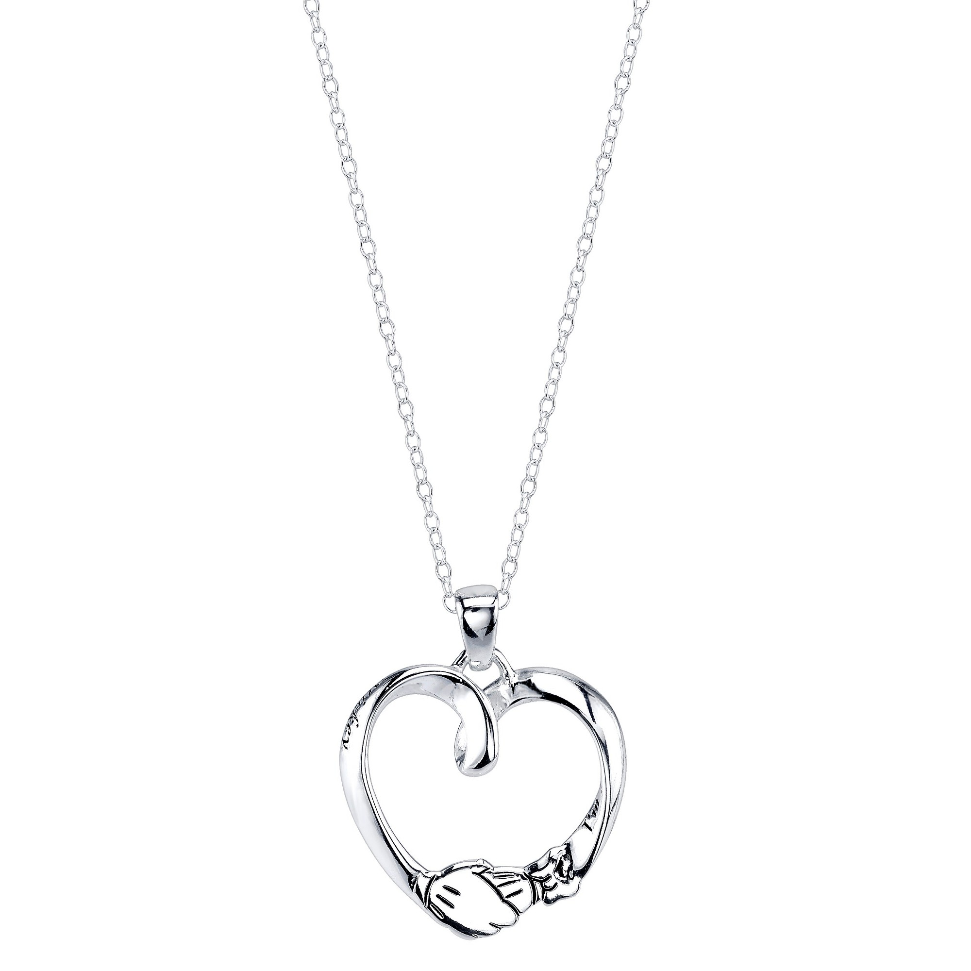 Disney Sterling Silver 'I'm Just Minnie Looking For Her Mickey' Open Heart Pendant Silver (18.85'), Women's