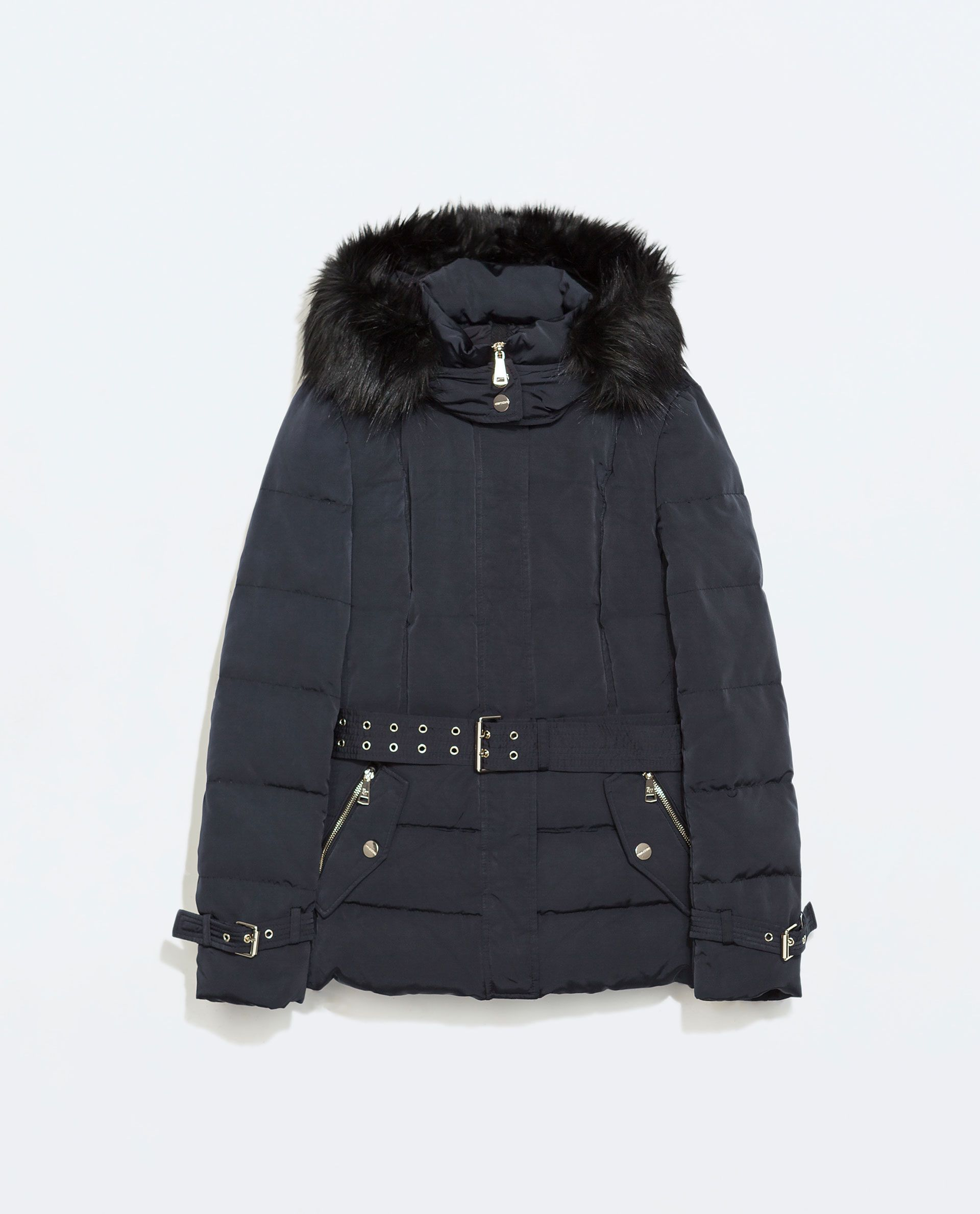 zara woman down jacket with hood and belt outfit. Black Bedroom Furniture Sets. Home Design Ideas
