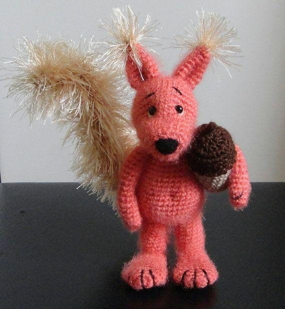 Squirrel and Acorn  OOAK Stuffed Animals Crochet Handmade by Tjan, $49.00