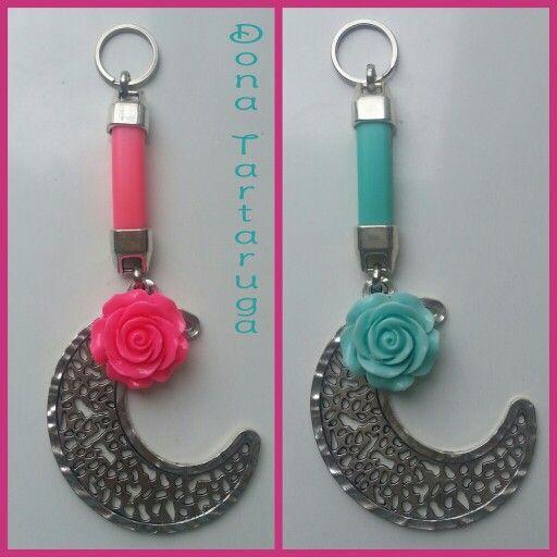 Porta Chaves lua com flor