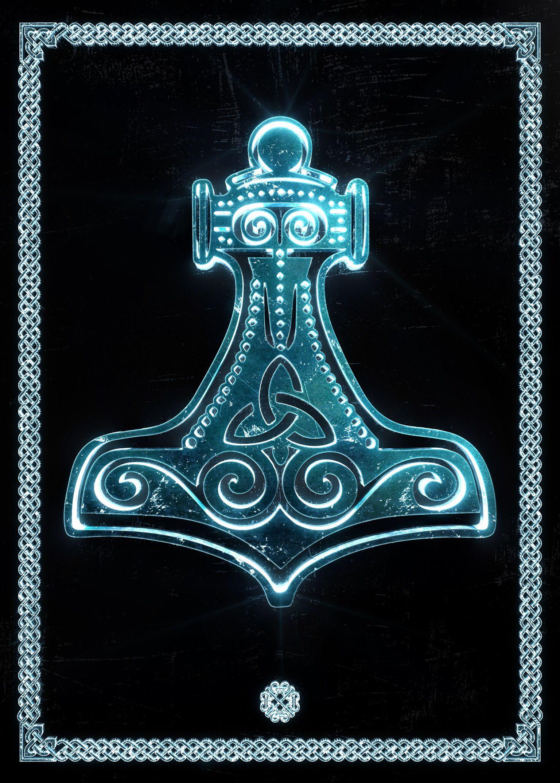Mjolnir Fantasy Poster Print Metal Posters Viking Rune