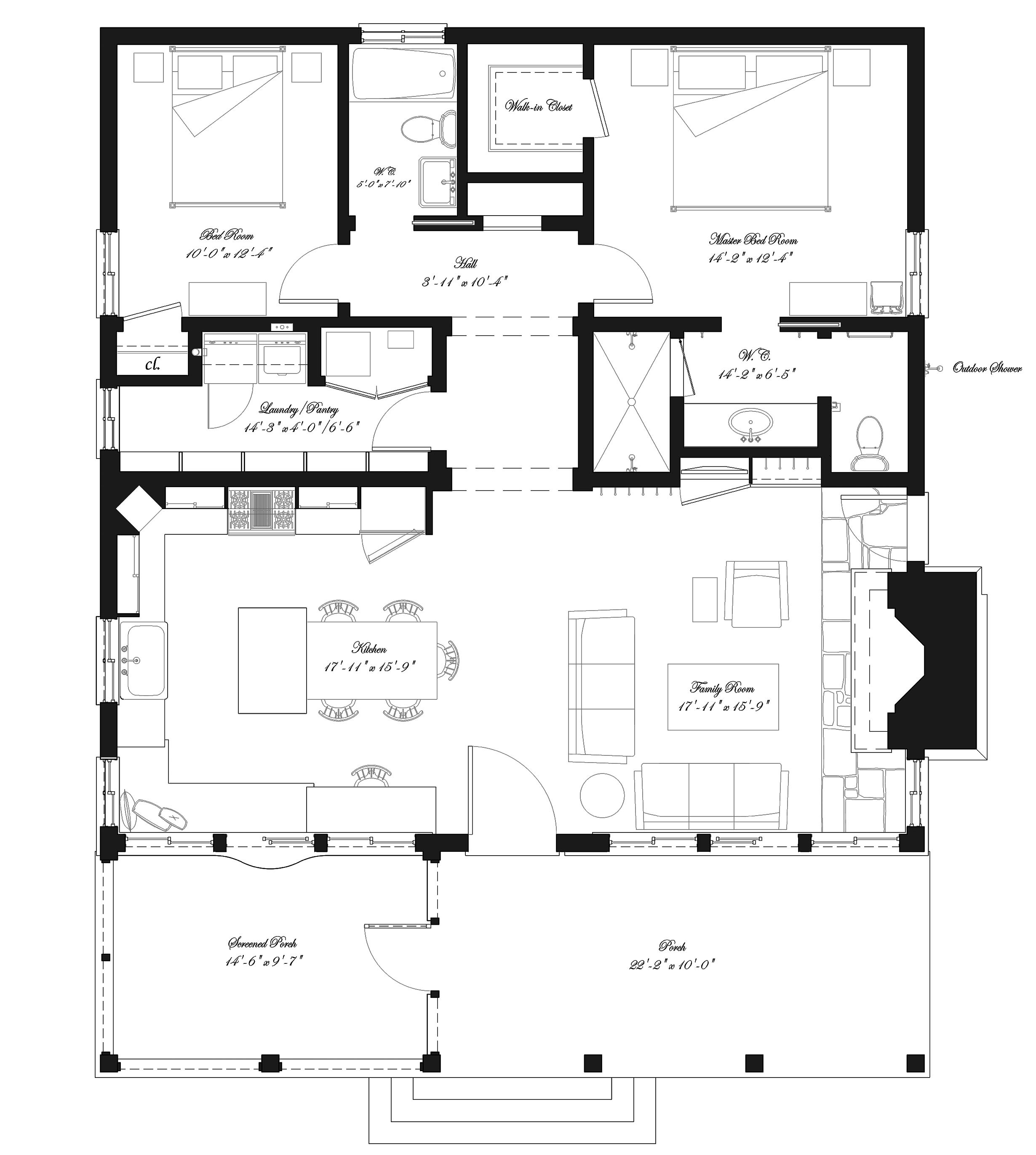 Simple Floor Plans nice simple floor plan replace laundry for stairs and mudroom area for boots Southern Style House Plan 2 Beds 2 Baths 1394 Sqft Plan 492 Simple Floor
