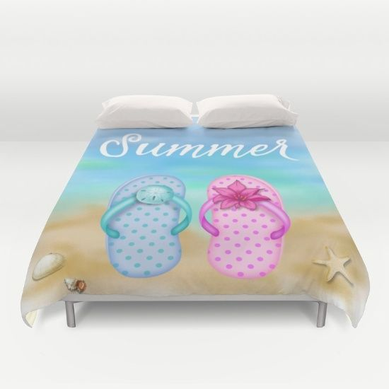 #cute #summer #beach #slippers #sand #seastars #shell #duvetcover #bedroom available in different #homedecor products. Check more at society6.com/julianarw