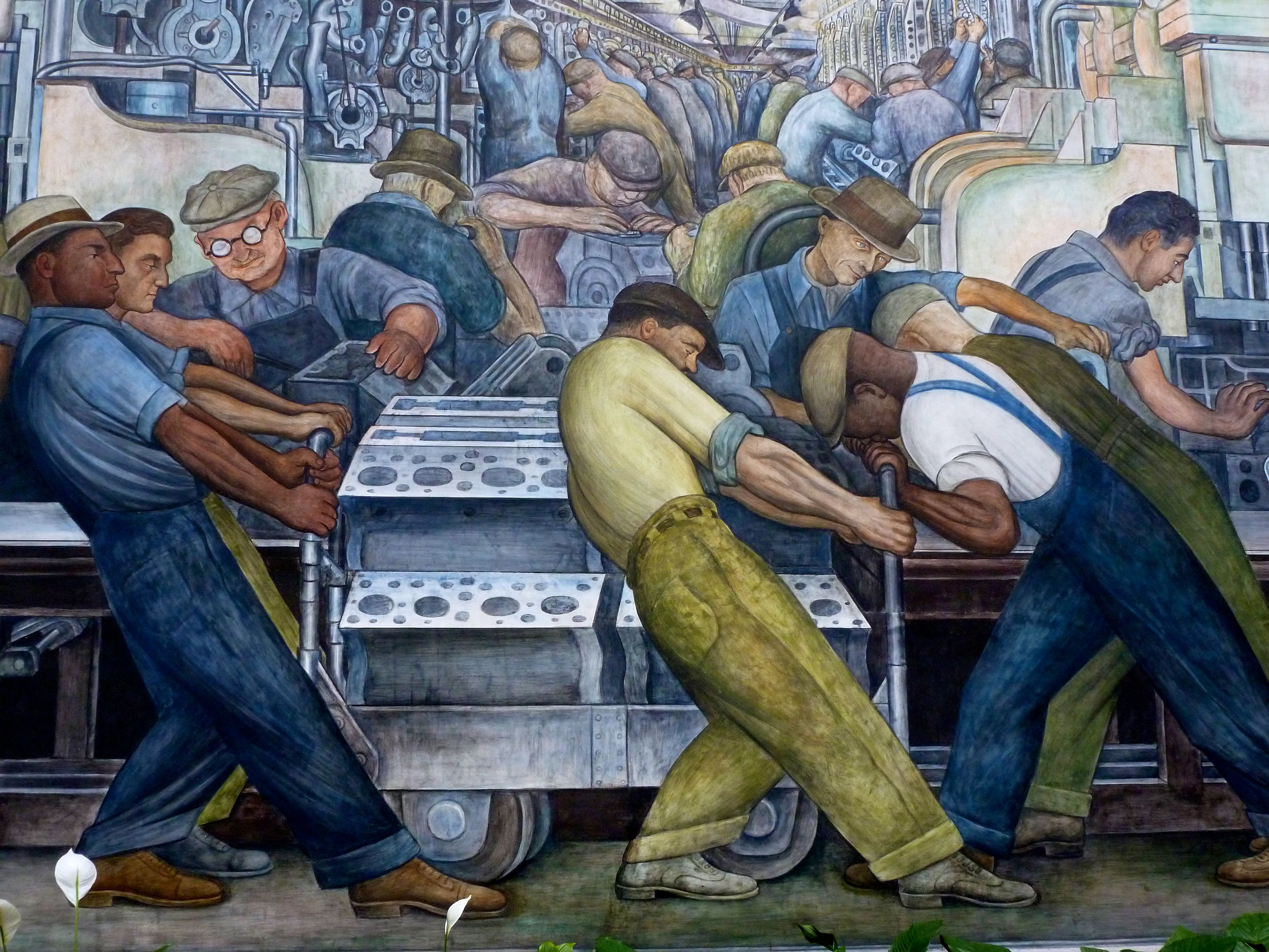 Diego rivera mural panel 1932 depicting workers at the for Diego rivera creation mural