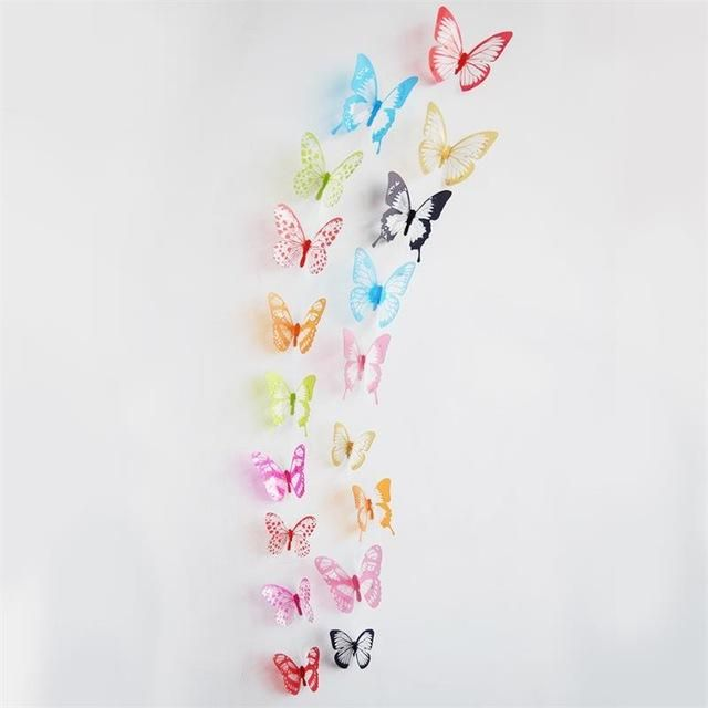 18 X Transparent 3D Butterfly Stickers