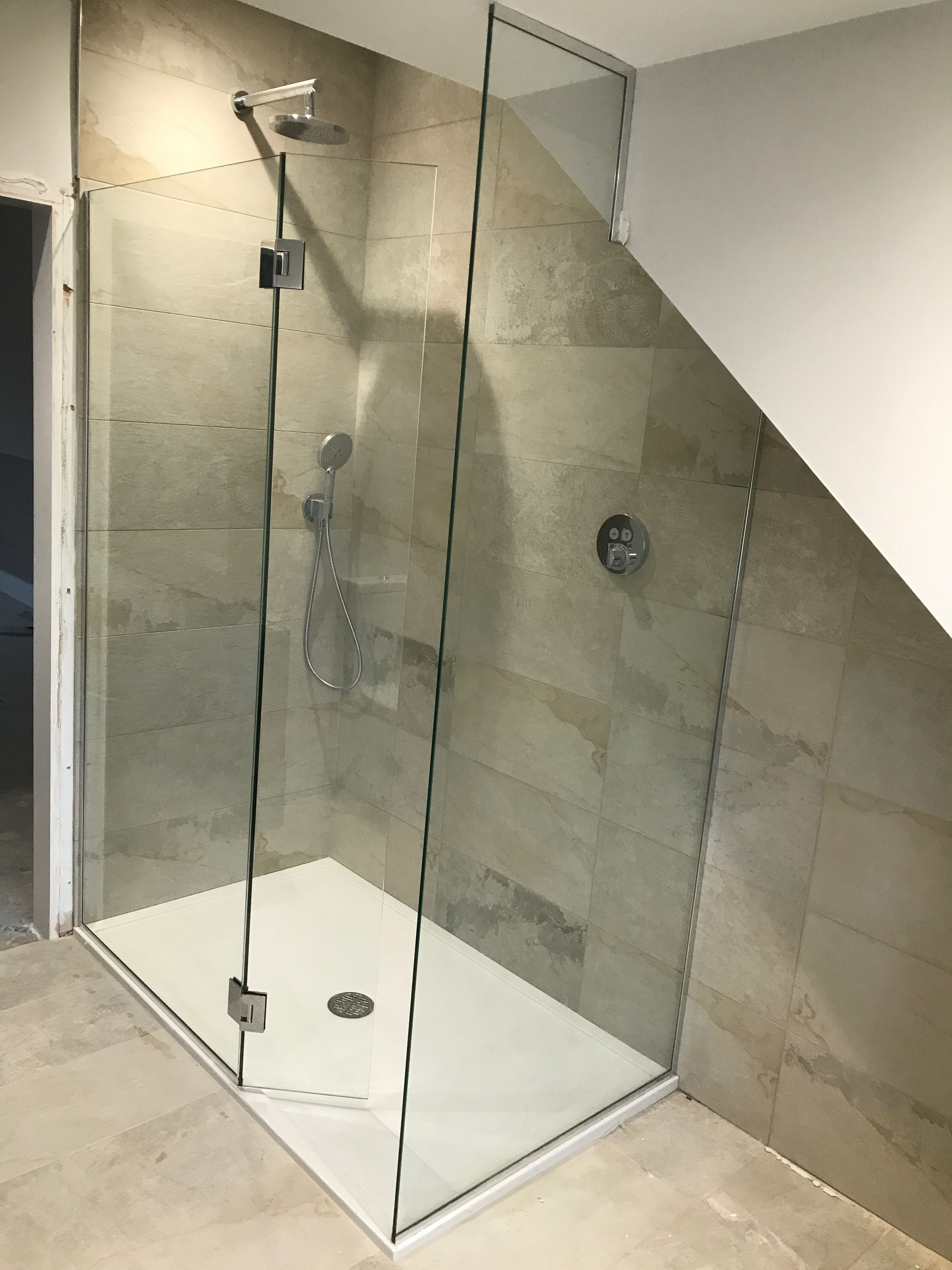 Frameless walk in shower enclosure with flap panel and end panel ...