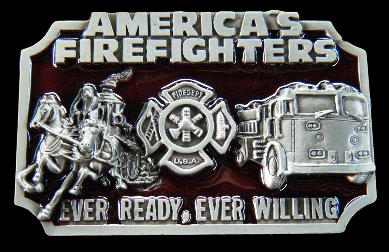 Volunteer Fire Fighter Fire Engine Truck Metal Belt Buckle