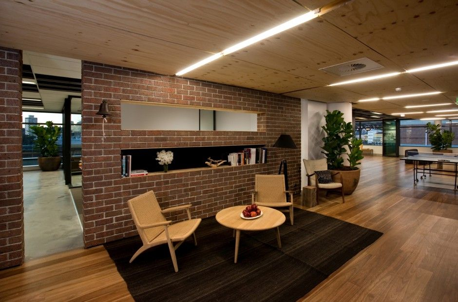 Industrial office interiors bricks wood both are good for Good office design