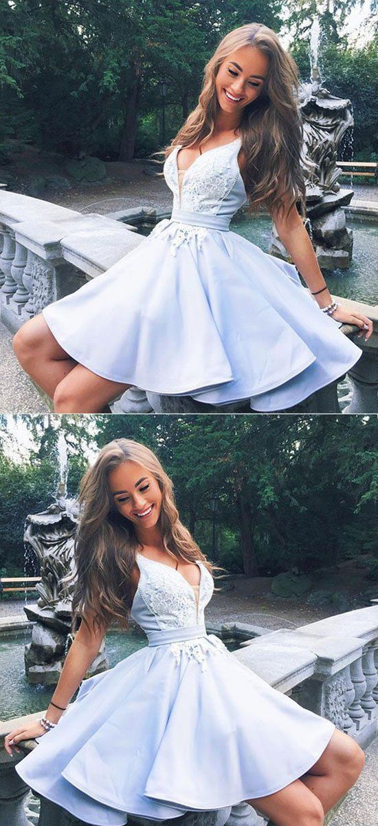 Cute v neck lace short prom dress, homecoming dres