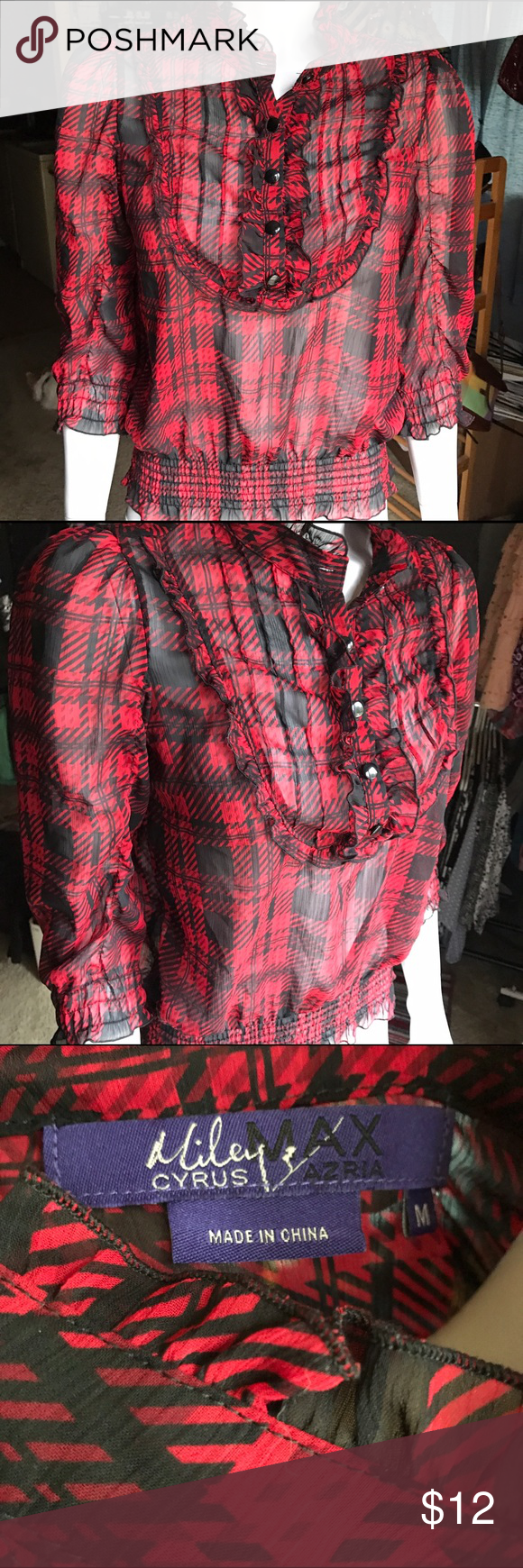 Miley Cyrus Max Azria plaid blouse Red and black plaid chiffon blouse is sheer and super cute! Ruffles and buttons make this top so feminine. Stylish and trendy shirt! Elastic at hems. Miley Cyrus Max Azria Tops Blouses