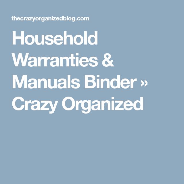 Household Warranties & Manuals Binder