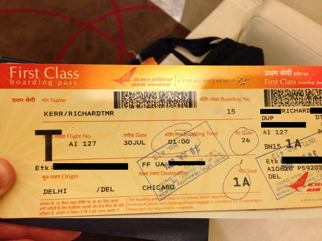 First Class Boardingpass For Air India Delhi Chicago Firstclass