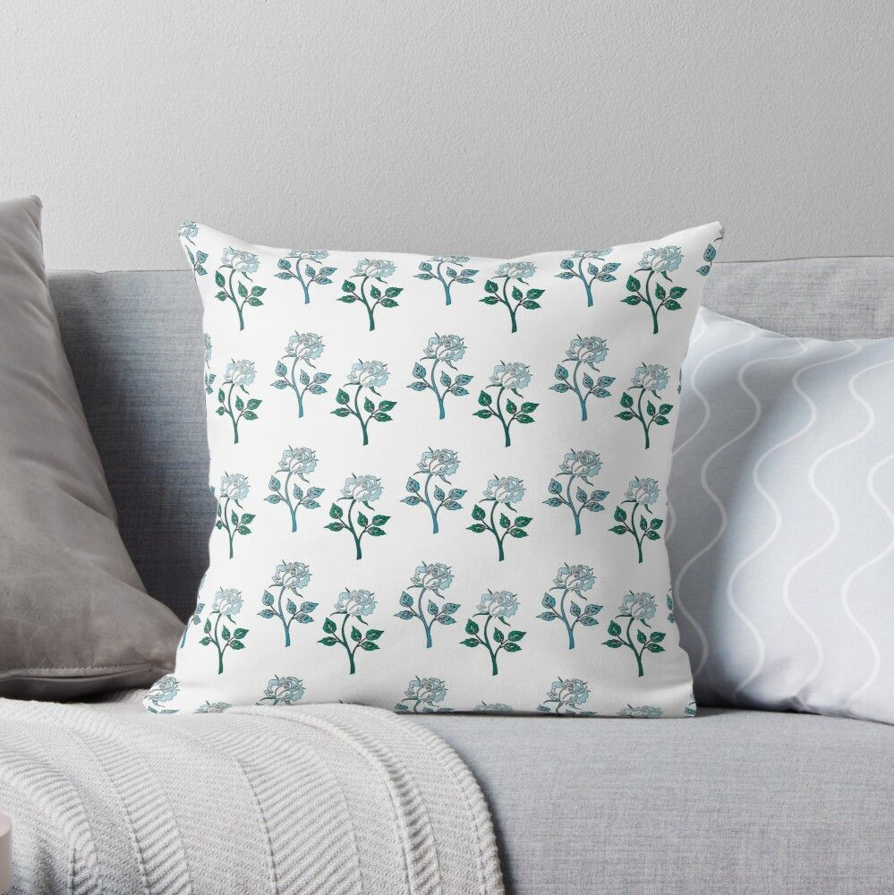 'Floral blue rose pattern' Throw Pillow by SweetDaydream