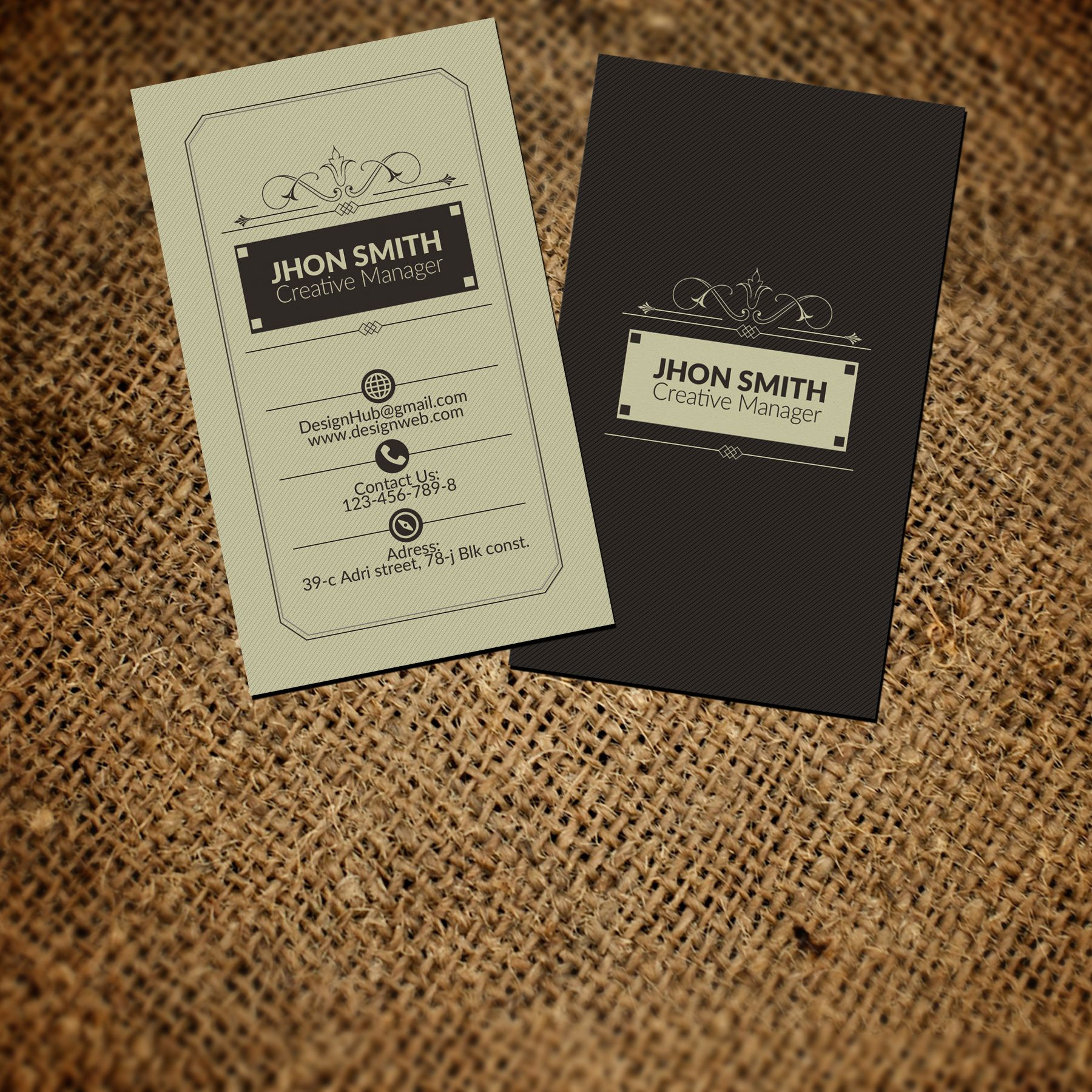 Vertical retro vintage business card by psd templates on vertical retro vintage business card by psd templates on creativemarket flashek Gallery