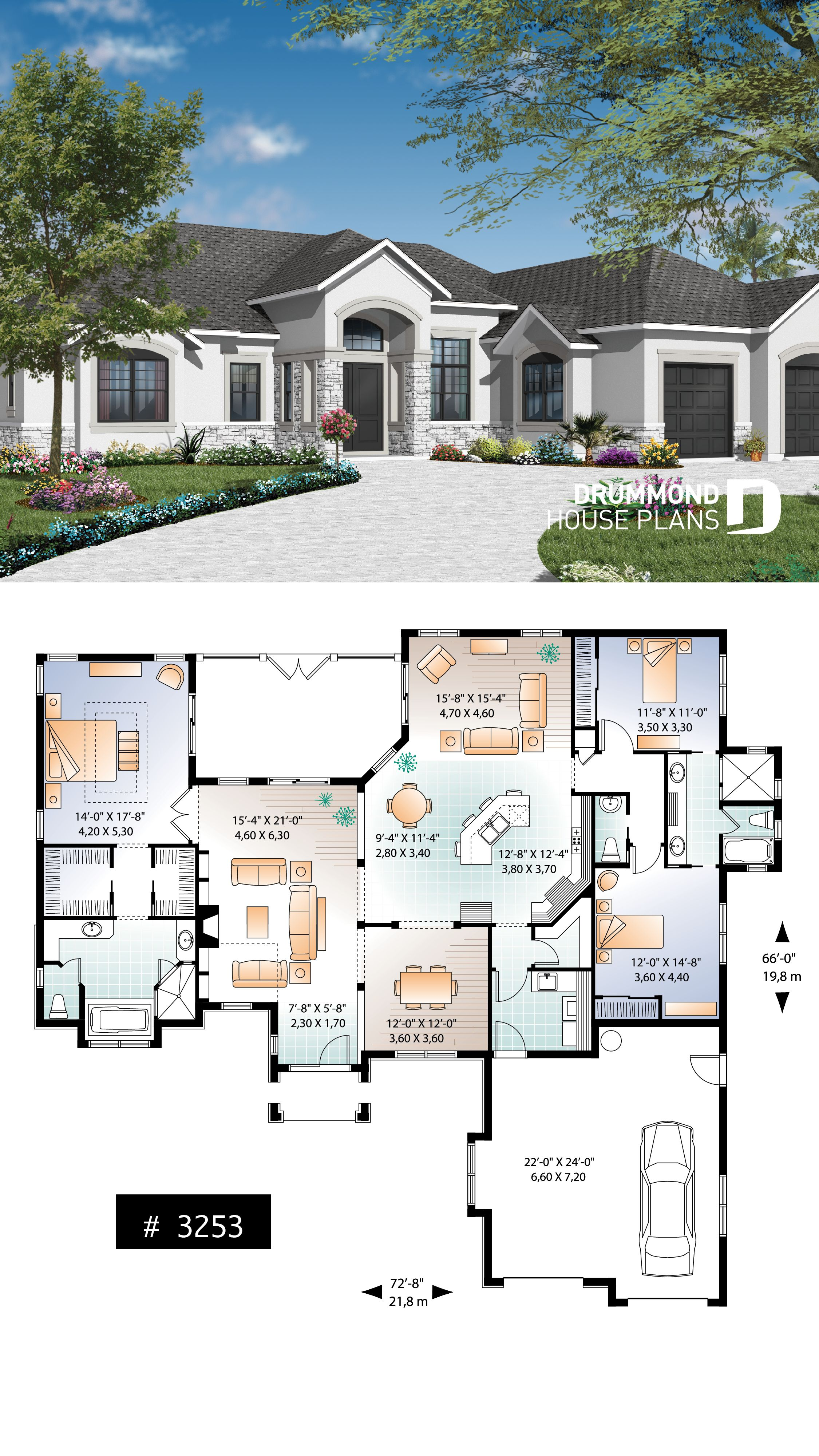 Discover The Plan 3253 Clarendon Which Will Please You For Its 3 Bedrooms And For Its Mediterranean Styles Florida House Plans New House Plans Family House Plans
