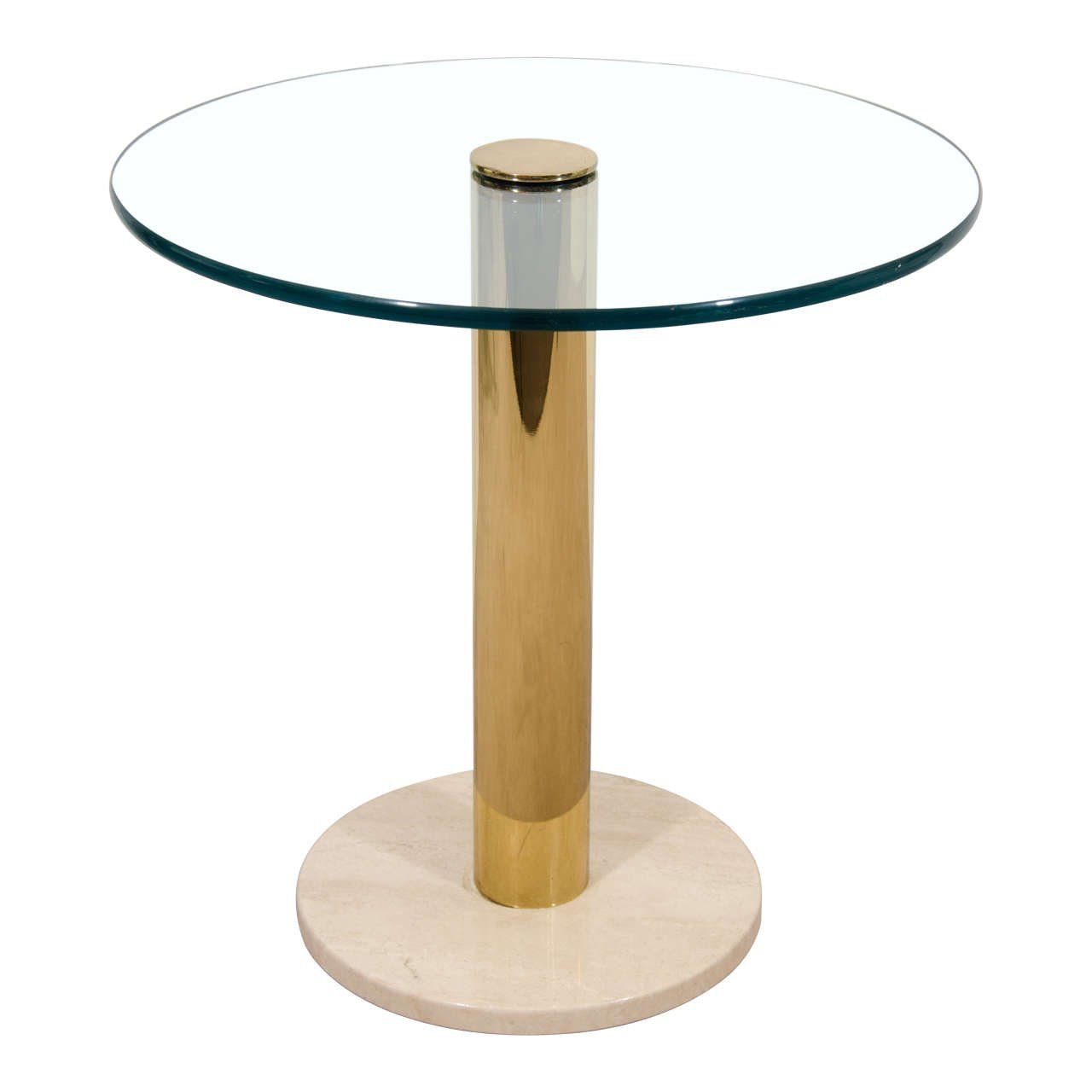 Modern Italian Round Brass Glass And Marble Side Table By Pace Ca 1970s Side Table Glass Side Tables Marble Side Tables