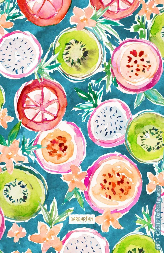 SO NICE Exotic Tropical Fruit Slices – BARBARIAN by Barbra Ignatiev | Bold colorful art