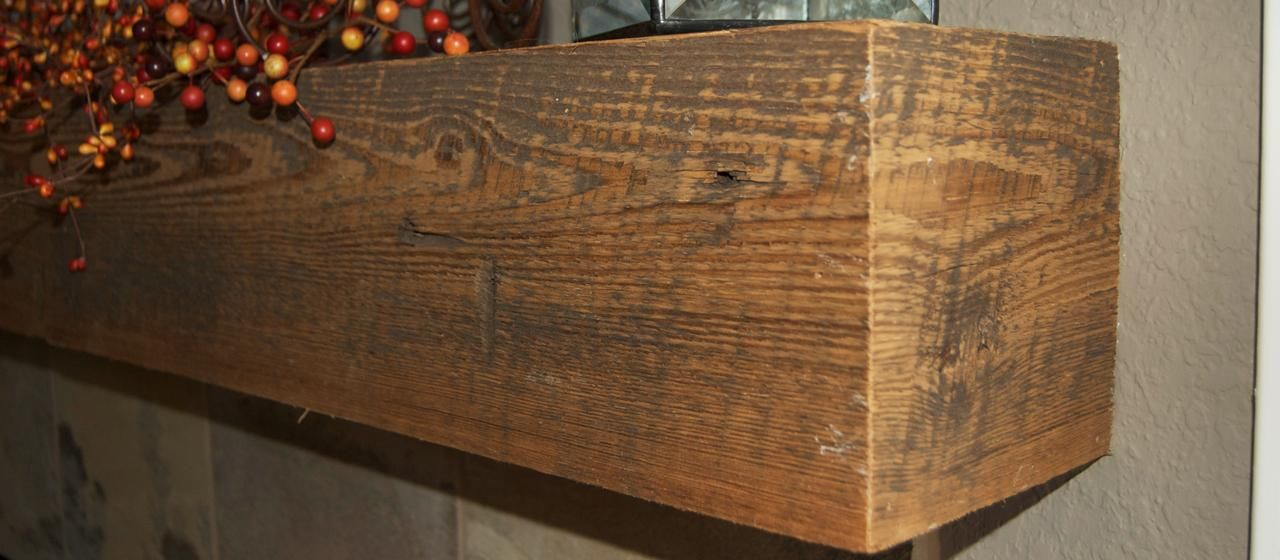 Reclaimed Antique Rough Sawn Fireplace Box Beam Mantel Elmwood Reclaimed Timber Antique