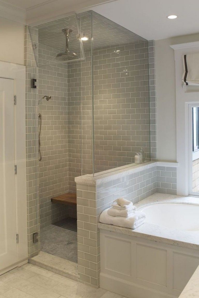 Photo of Bathroom Design With Walk-In Shower And Freestanding Bathtub