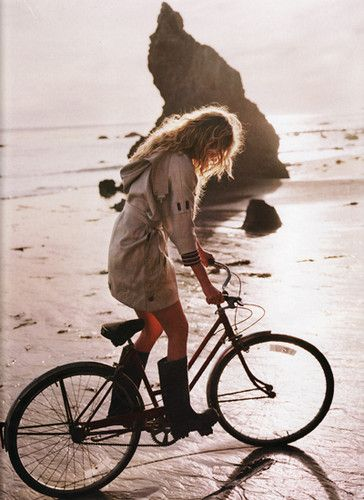 Cycling by the shore