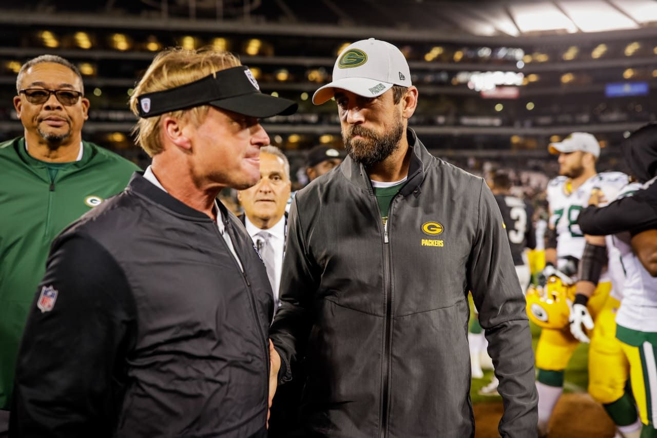 Jon Gruden And Aaron Rodgers 8 23 2018 Green Bay Packers Aaron Rodgers Green Bay