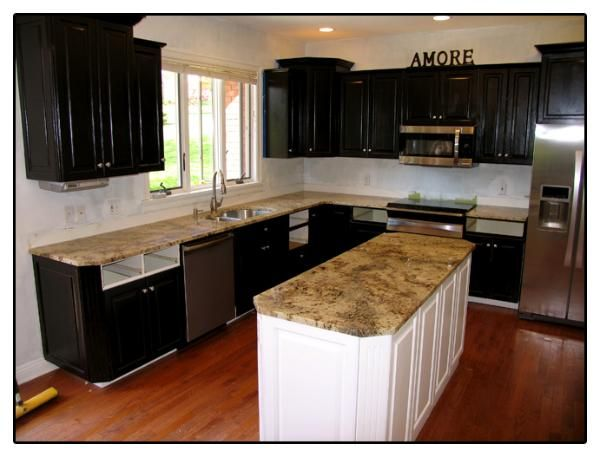 Villa Roma Granite Countertops In Kitchen   Expresso Cabinets U0026 White Island