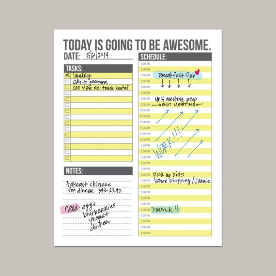 Weekly Calendar Half Hour Increments : Today is going to be awesome day planner daily schedule