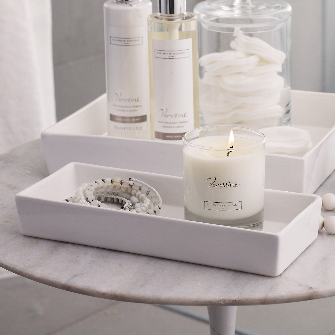 Badezimmer Container Ceramic Rectangular Container White The White Company