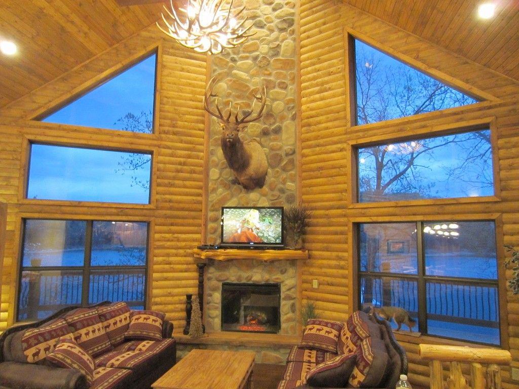 Luxury Lakefront Log Chalet 50ft To Lake Boat Vrbo Table Rockpool