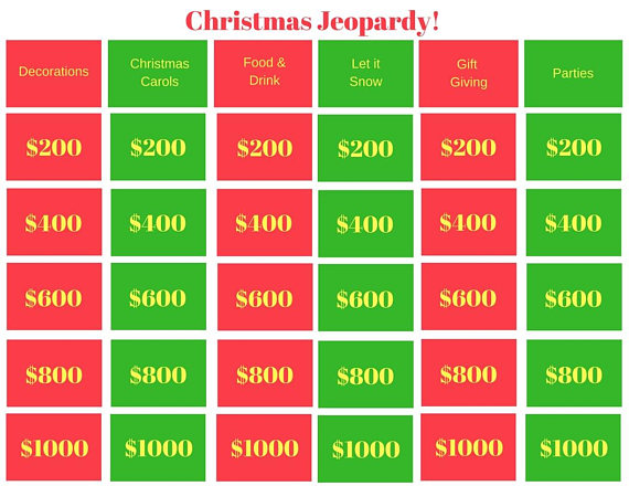 christmas jeopardy is a great family game for the holidays includes 6 categories a - Christmas Jeopardy Game