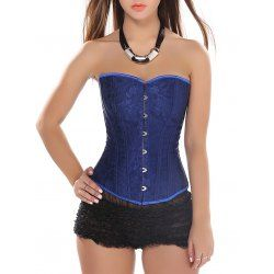 Strapless Slimming Lace-Up Corset Top - Blue - S