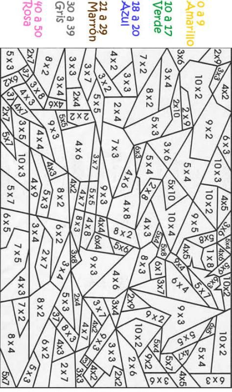 Calcular dibujos mgicos dibujo multiplicar y colorear juego