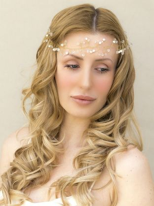 "Pearl and Crystal Bridal Vine Headband ~ ""Rowan"" in Gold - Bridal Hair Accessories by Hair Comes the Bride"