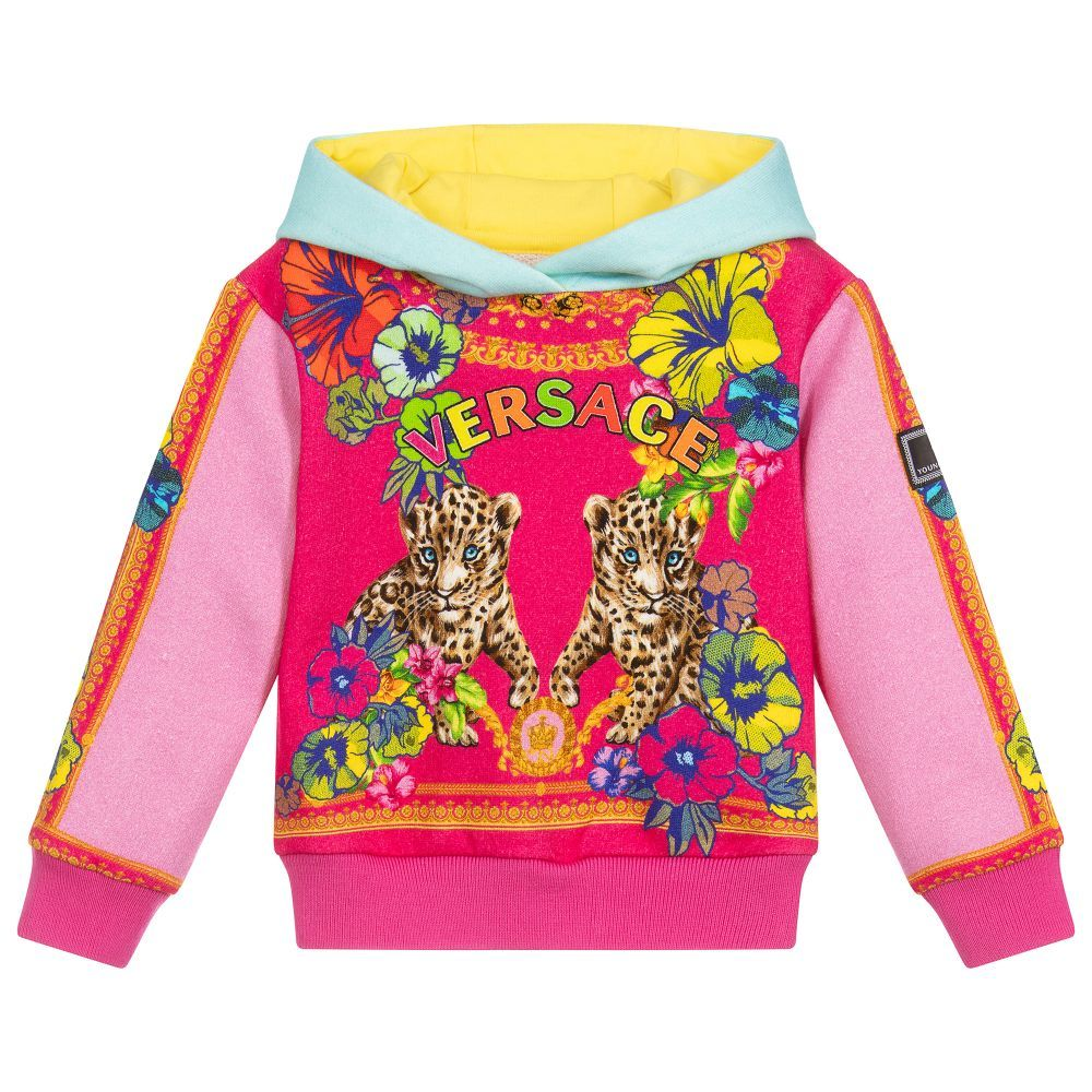 844d69854c7f A colourful hooded sweatshirt for little girls by luxury brand Young  Versace, made in soft cotton jersey. The body of the top is pink, with an  adorable ...