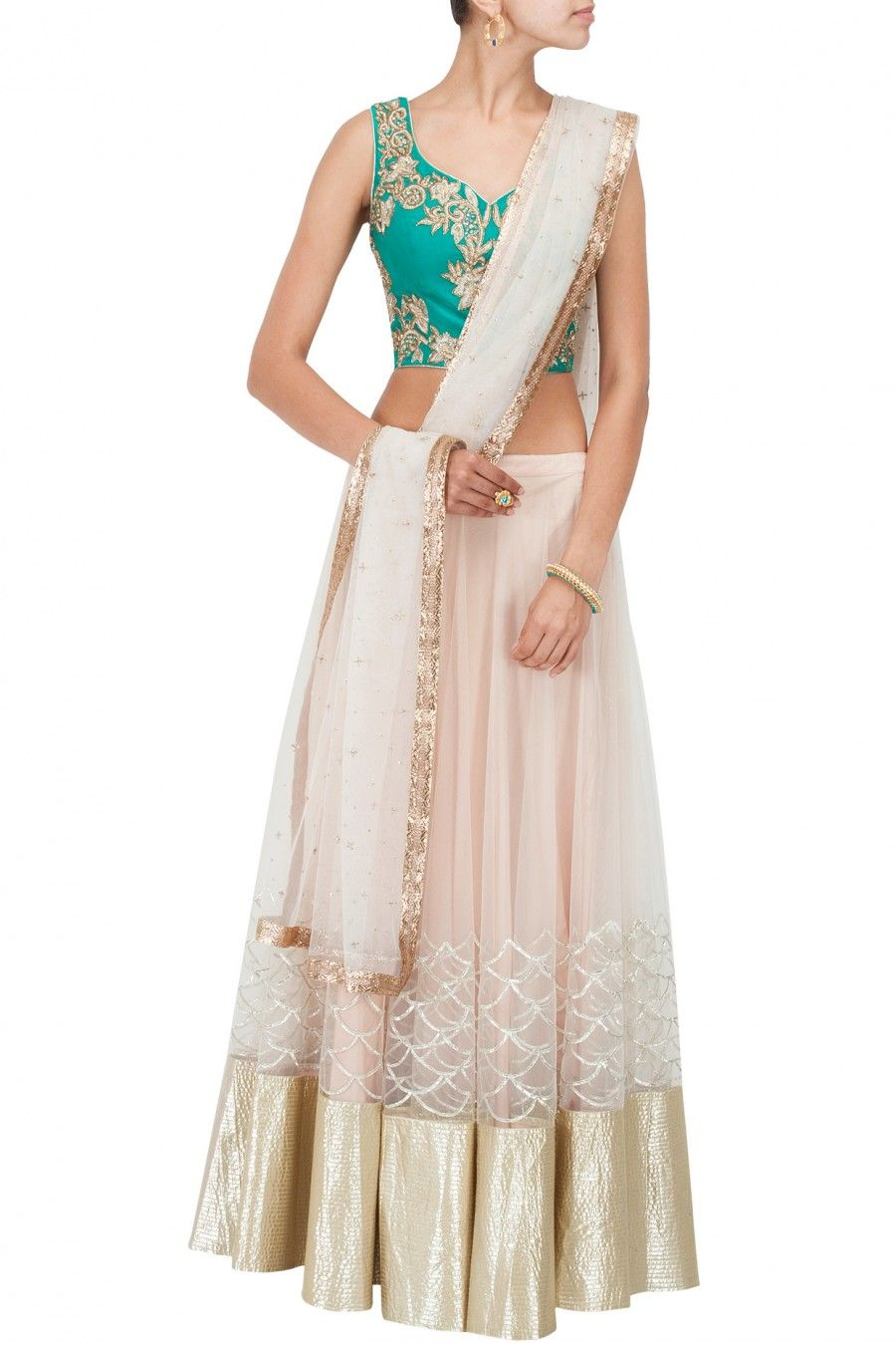 Beige and green embroidered lehenga set available only at perniaus