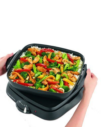 Hamilton Beach 38500 Step Savor Skillet/Griddle Combination by Hamilton Beach. $56.25. Nonstick griddle and skillet offer many countertop cooking options. Big-meal capacity: 11-1/2-inch-square griddle, 12-1/2-inch-square skillet. Saute, fry, stir-fry, simmer, braise--recipes included. Skillet and cover dishwasher-safe; wire rack holds unit for compact storage. Covered skillet 2-1/2 inches deep, holds 4 quarts, goes to table for serving. Amazon.com                By marrying a...