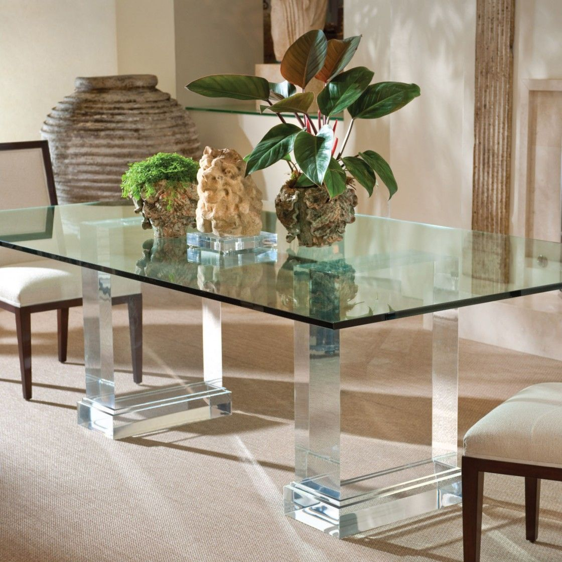 Acrylic Clear Glass Rectangular Dining Table Stainless Steel Mirrored Base And Plants Centerpie Glass Kitchen Tables Glass Dining Table Metal Base Dining Table [ 1120 x 1120 Pixel ]