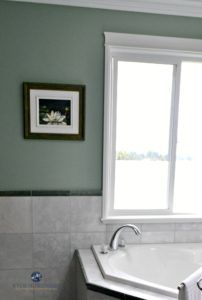 Ideas to update and modernize forest green tile, countertops, carpet, furniture and more by Kylie M INteriors